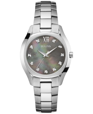 Bulova Women's Diamond Accent Stainless Steel Bracelet Watch 33mm 96P158