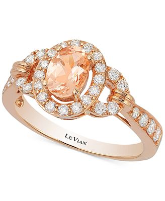 Le Vian Peach Morganite 1 2 ct t w and Diamond 1 2 ct t w