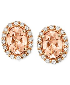 Peach Morganite (1 ct. t.w.) and Diamond (1/4 ct. t.w.) Oval Stud Earrings in 14k Rose Gold, Created for Macy's