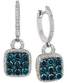 Exotics® Blue and White Diamond Drop Earrings (1-1/4 ct. t.w.) in 14k White Gold