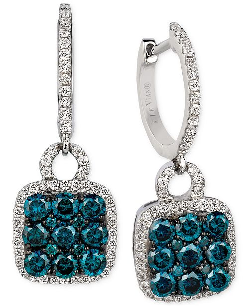 Le Vian Exotics® Blue and White Diamond Drop Earrings (1-1/4 ct. t.w.) in 14k White Gold