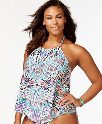 Kenneth Cole Reaction Plus Size Printed Tankini Top