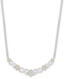 Diamond Frontal Necklace (1 ct. t.w.) in 14k Gold and Sterling Silver, Created for Macy's