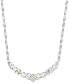 Wrapped in Love™ Diamond Frontal Necklace (1 ct. t.w.) in 14k Gold and Sterling Silver, Created for Macy's