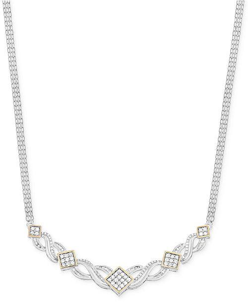 Wrapped in Love Diamond Frontal Necklace (1 ct. t.w.) in 14k Gold and Sterling Silver, Created for Macy's