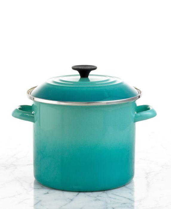 Le Creuset Enameled Steel 8 Qt. Covered Stockpot, Blue, Size: 8 QT