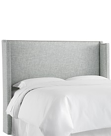 Jada King Nail Button Wing Back Headboard, Quick Ship