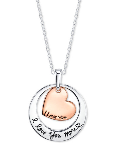 i love you more two tone pendant necklace in sterling