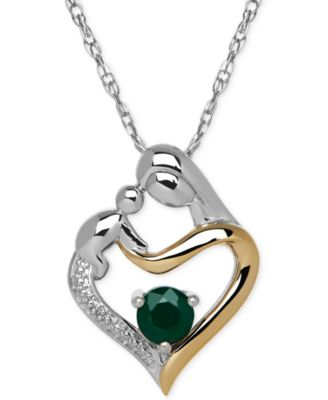 Emerald (1/3 ct. t.w.) and Diamond Accent Mother and Infant Pendant Necklace in Sterling Silver and 14k Gold