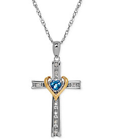 Birthstone Cross Pendant Necklace Collection