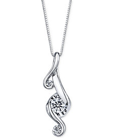 Proud Mom Diamond 3-Stone Pendant Necklace (1/3 ct. t.w.) in 14k White Gold