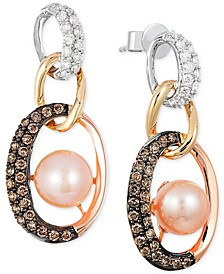 Freshwater Pearl (7mm) and Diamond (3/4 ct. t.w.) Link Earrings in 14k White, Yellow and Rose Gold