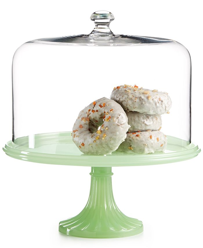 Martha Stewart Collection - Jadeite-Colored Glass Cake Stand with Dome