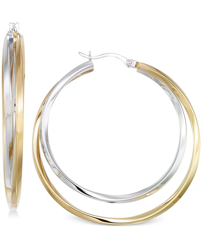 Macy's - Interlocking Hoop Earrings in 14k Gold Over Silver and 14k White Gold Over Silver