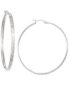 Diamond-Cut Hoop Earrings in 14K White Vermeil