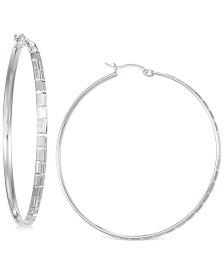 Diamond-Cut Hoop Earrings in 14K White Vermeil