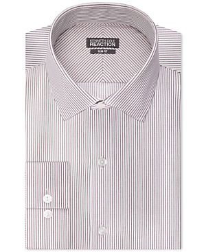 Kenneth Cole Reaction Slim-Fit Performance Wine Stripe Dress Shirt
