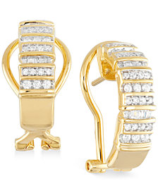 Diamond Semi-Hoop Earrings (1/2 ct. t.w.) in 14k Gold over Sterling Silver