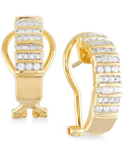 Diamond Semi-Hoop Earrings (1/2 ct. t.w.) in 14k Gold over Sterling Silver