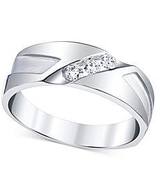 Men's Diamond Cut-Detail Band (1/4 ct. t.w.) in 10k White Gold