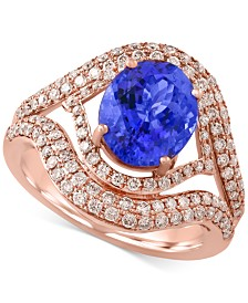 Tanzanite Royalé by EFFY  Tanzanite (2-5/8 ct. t.w.) and Diamond (9/10 ct. t.w.) Ring in 14k Rose Gold, Created for Macy's