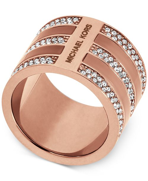 Michael Kors Rose Gold-Tone & Crystal Accented Barrel Ring