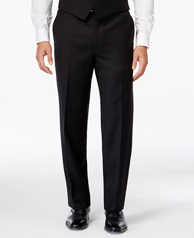Lauren Ralph Lauren Black Solid Classic-Fit Dress Pants - Mens ...