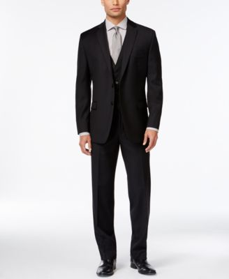 Black Solid Big and Tall Modern Fit Jacket