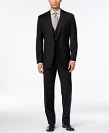 Calvin Klein Black Solid Big and Tall Modern Fit Suit Separates