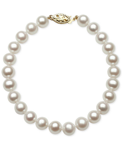 Belle de Mer Cultured Freshwater Pearl Bracelet (7mm) in 14k Gold