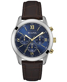 Bulova Men's Chronograph Brown Leather Strap Watch 40mm 98A151, Created for Macy's