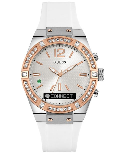 4930ac18ae62 ... GUESS Women s Analog-Digital Connect White Silicone Strap Smart Watch  41mm C0002M2 ...