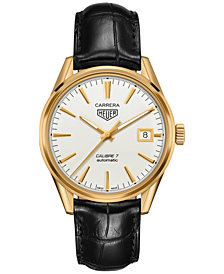 TAG Heuer Men's Swiss Automatic Carrera Calibre 7 Black Leather Strap Watch 39mm WAR2140.FC8159