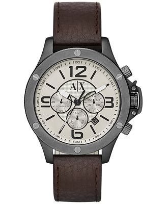 A|X Armani Exchange Men's Chronograph Dark Brown Leather Strap Watch 48mm AX1519