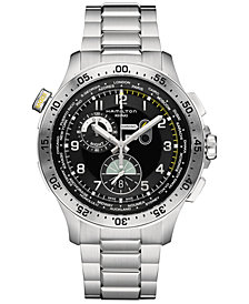 Hamilton Men's Swiss Chronograph Khaki Aviation Worldtimer Stainless Steel Bracelet Watch 45mm H76714135