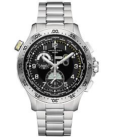 Hamilton Men's Swiss Chronograph Khaki Aviation Worldtimer Stainless Steel Bracelet Watch 45mm H76714135