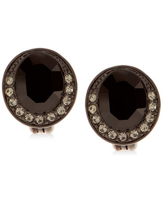 Givenchy Hematite Tone Crystal Button Clip On Earrings Jewelry