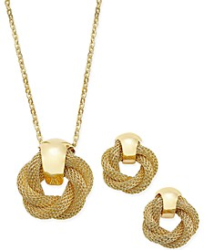 Gold-Tone Twisted Knot Pendant Necklace and Earrings Set, Created for Macy's