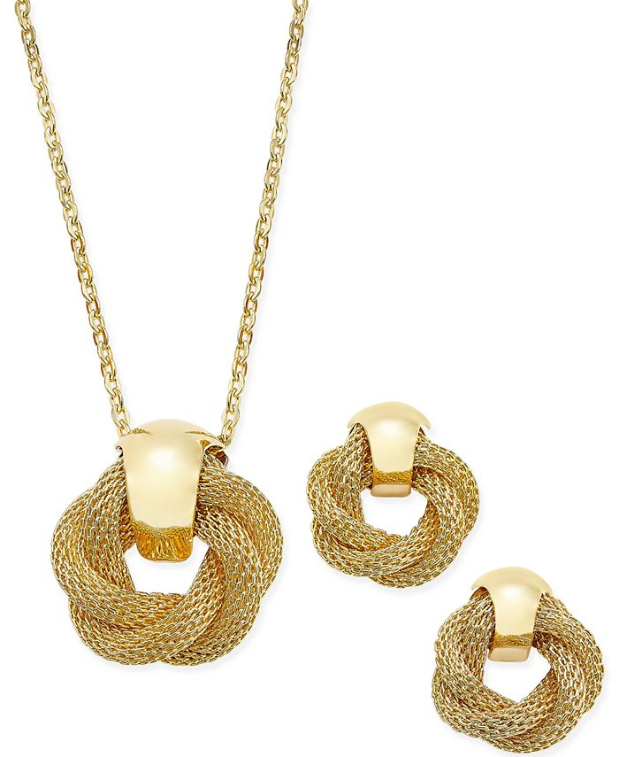Charter Club - Gold-Tone Twisted Knot Pendant Necklace and Earrings Set