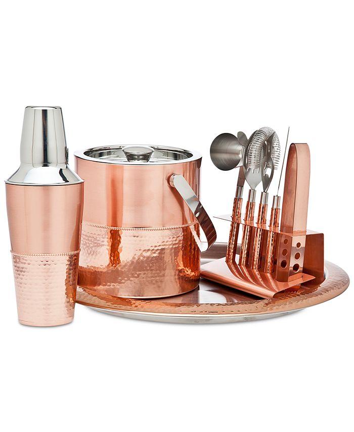 Godinger - Stainless Steel 9-Pc. Copper-Tone Bar Set