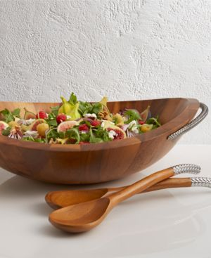 Nambe Braid Salad Bowl With Servers