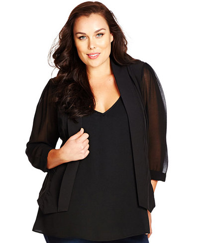 City Chic Plus Size Sheer-Sleeve Cropped Blazer