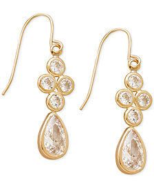 Cubic Zirconia Drop Earrings in 10k Gold, 1 inch