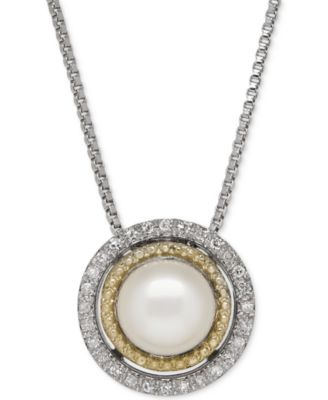 FINE STERLING SILVER 9MM FRESHWATER PEARL PENDANT NECKLACE WITH HALO SURROUND