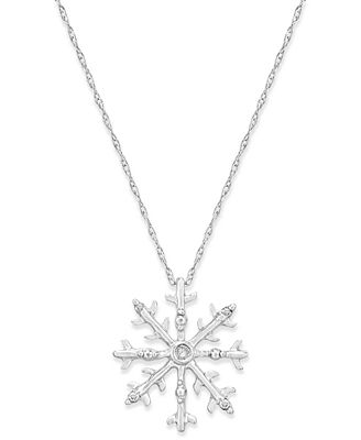 Diamond Accent Snowflake Pendant Necklace in 10k White Gold