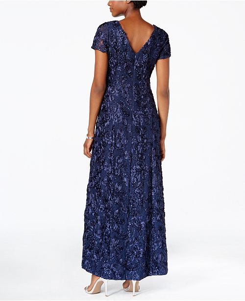 73f7b87ee5e Alex Evenings Rosette A-Line Gown   Reviews - Dresses - Women - Macy s