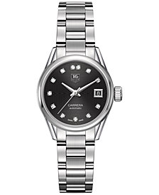 TAG Heuer Women's Swiss Automatic Carrera Calibre 9 Diamond (1/10 ct. t.w.) Stainless Steel Bracelet Watch 28mm WAR2413.BA0776