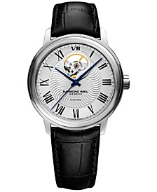 Men's Swiss Automatic Maestro Black Leather Strap Watch 40mm 2227-STC-00659