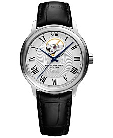 RAYMOND WEIL Men's Swiss Automatic Maestro Black Leather Strap Watch 40mm 2227-STC-00659