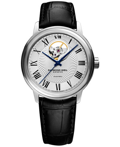 RAYMOND WEIL Men's Swiss Automatic Maestro Black Leather Strap Watch 40mm 2227-STC-00659